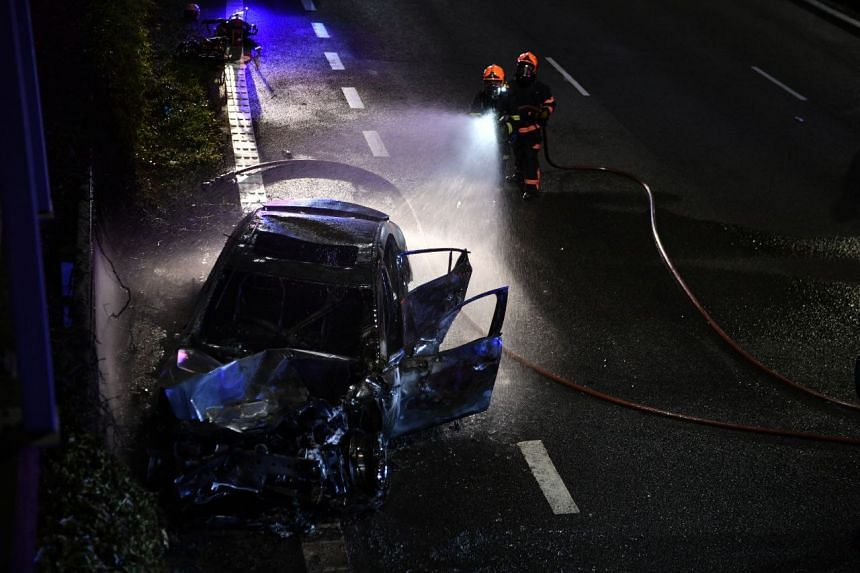 A car was severely burnt after an accident on CTE, on July 23, 2021.