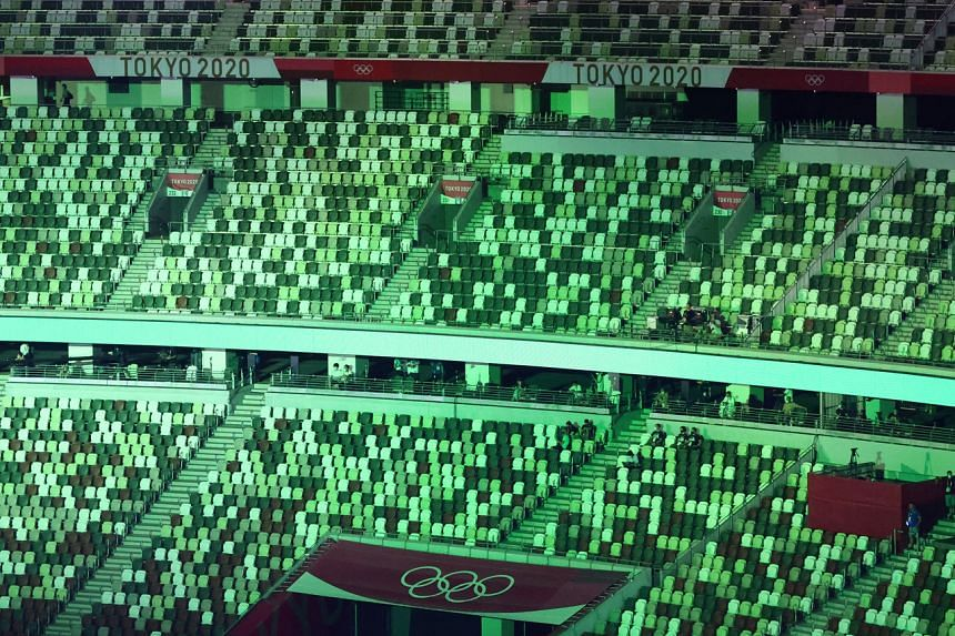 A view of empty seats inside the stadium.