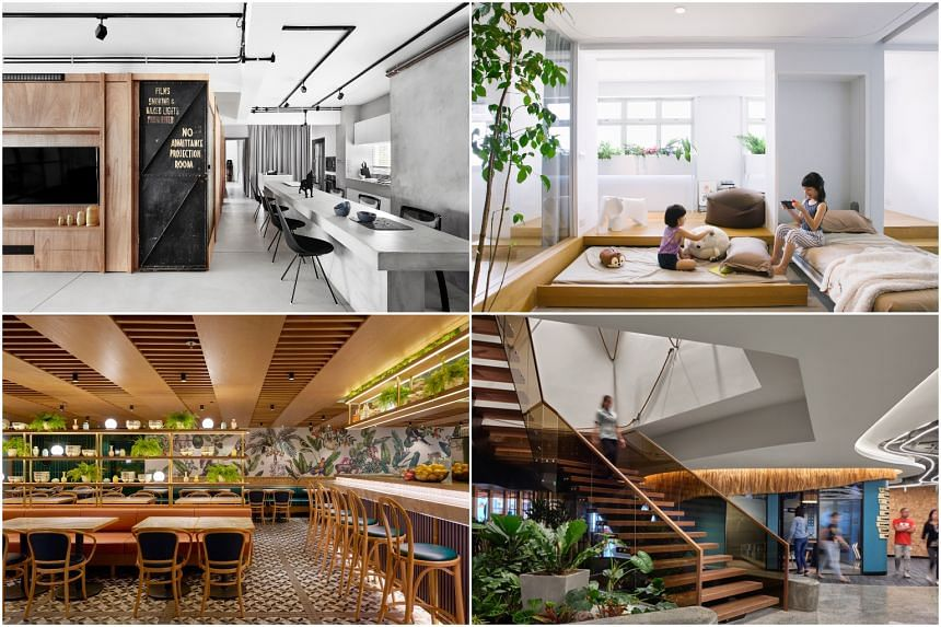 (Clockwise, from top left) The Crate Apartment, a HDB 5-room apartment, a Business Process Outsourcing facility in Bonifacio Global City, Chatterbox Cafe at K11 Musea in Hong Kong.