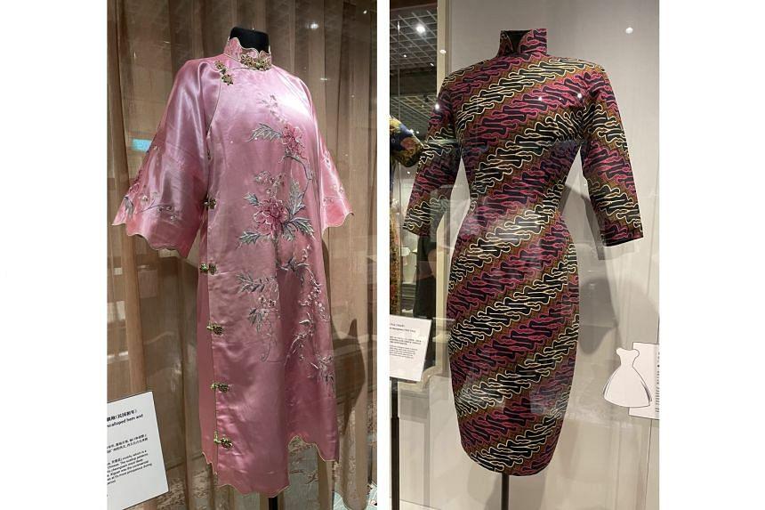 A striking striped batik cheongsam once belonged to writer Han Suyin.