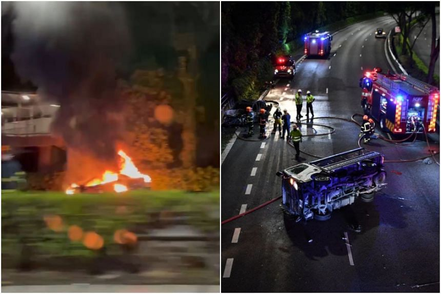 Footage and photos circulating online showed a car ablaze with billowing grey smoke and a lorry laying on its side.
