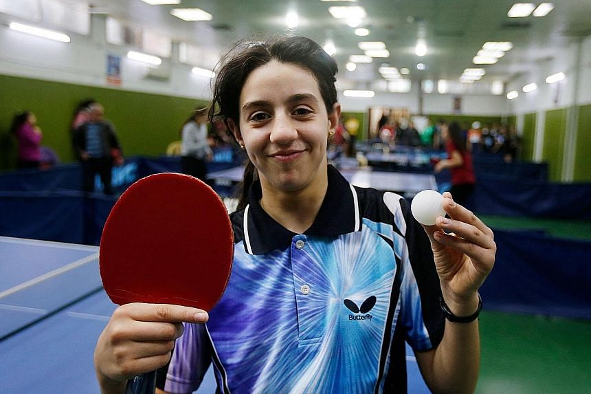 Syrian table tennis player Hend Zaza at the local club championships in Damascus in March. She was just five when she picked up a bat and will be the youngest competitor at Tokyo 2020.