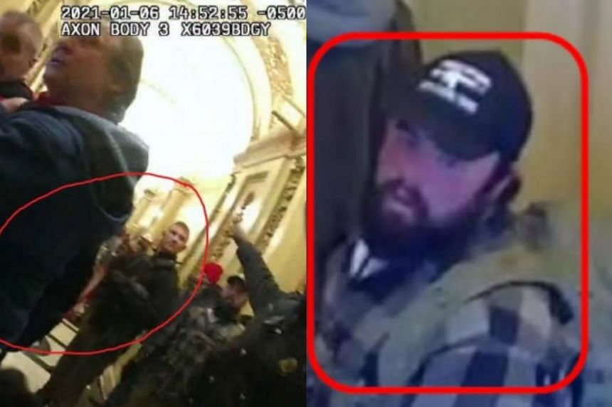 """Jancart (left) posted pictures on Facebook from the riot, including a photograph taken from outside Pelosi's conference room showing Rau inside the room with the caption """"We're in."""""""
