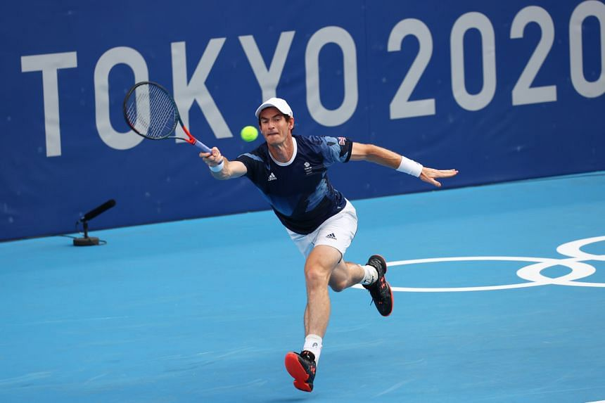 Andy Murray during his tennis training at Ariake Tennis Park, Tokyo, on July 22, 2021.