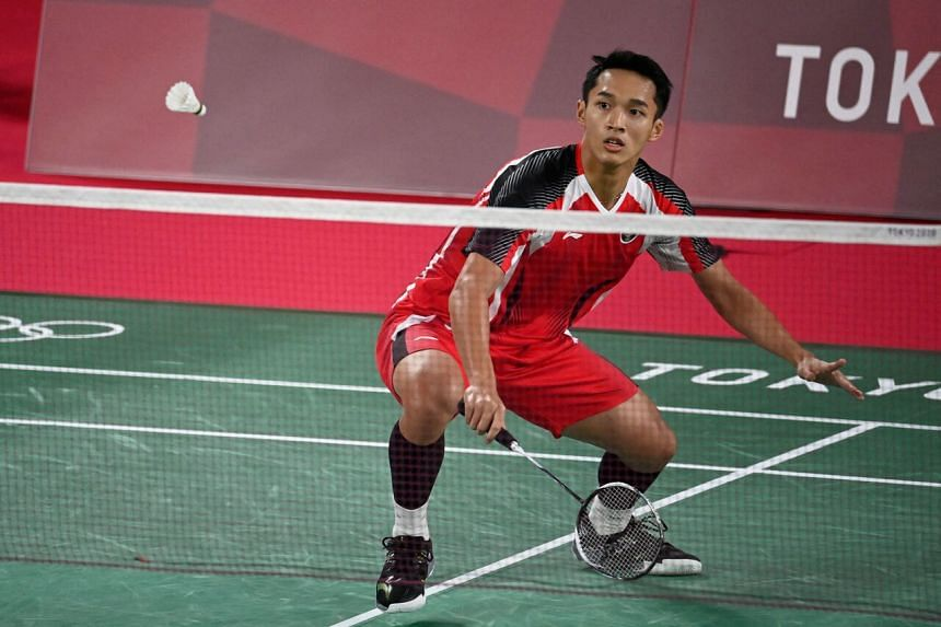 Indonesia's Jonatan Christie during the Tokyo 2020 Olympic Games at the Musashino Forest Sports Plaza on July 24, 2021.