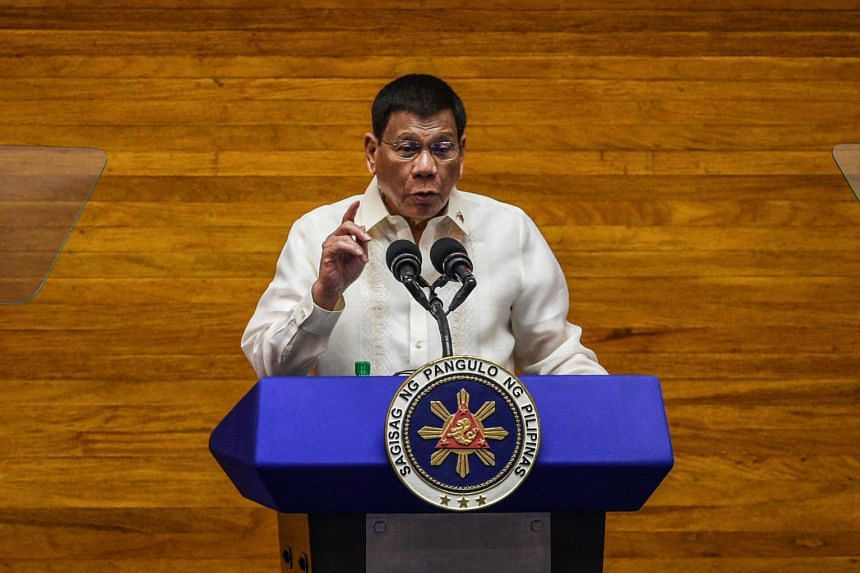 Philippine President Rodrigo Duterte speaks during the annual state of the nation address at the House of Representatives in Manila on July 26, 2021.