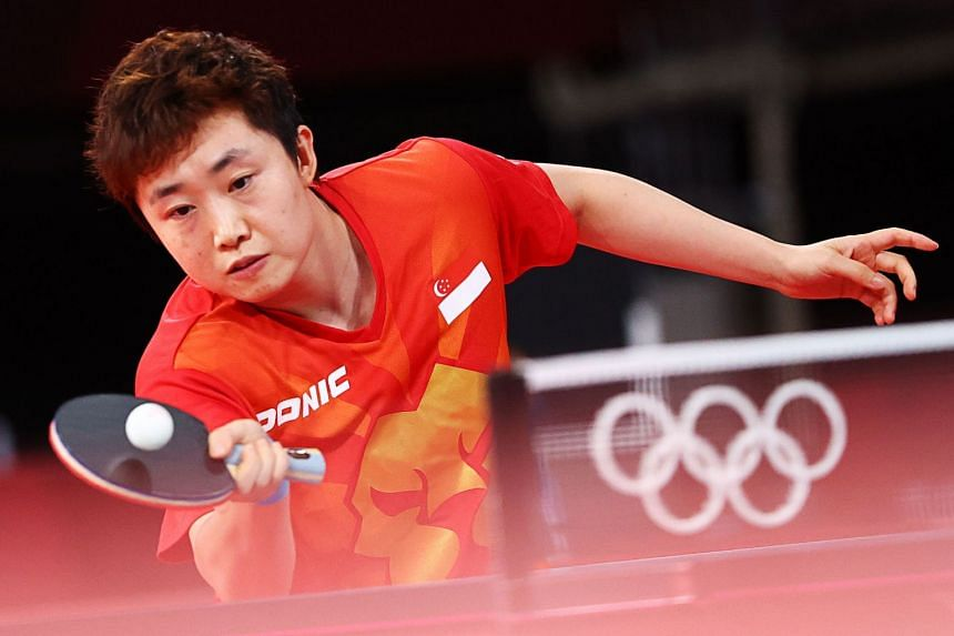 Feng Tianwei in action during the women's singles last 16 table tennis event, on July 27, 2021.
