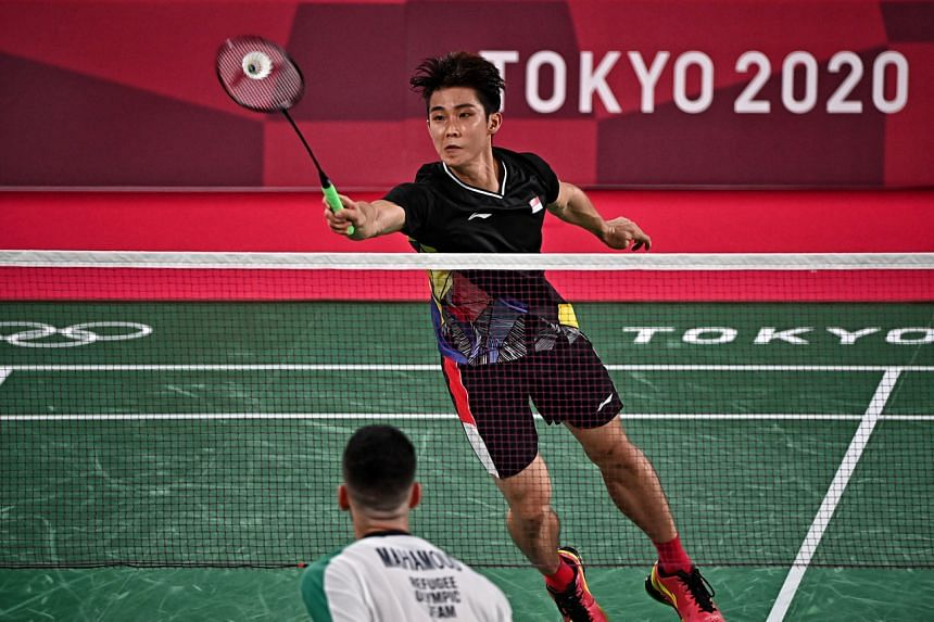 Singapore shuttler Loh Kean Yew during the Singles Group Play Stage at the Musashino Forest Sport Plaza during the Tokyo Olympics on July 26, 2021.