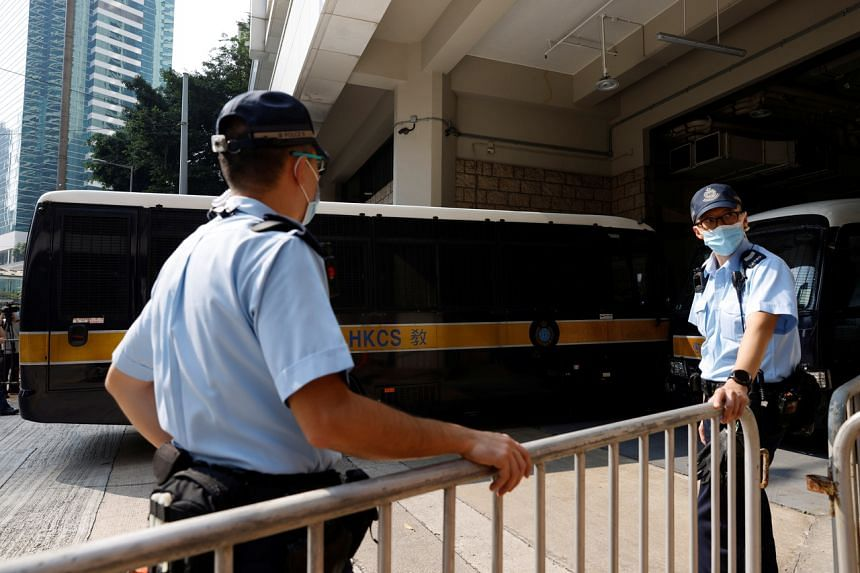 A prison van carrying Tong Ying Kit arrives at the High Court in Hong Kong on July 27, 2021.