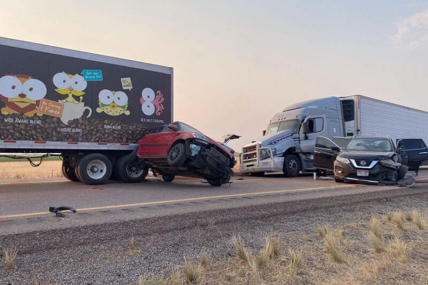 """Some 22 vehicles were involved in Sunday's """"series of crashes""""."""