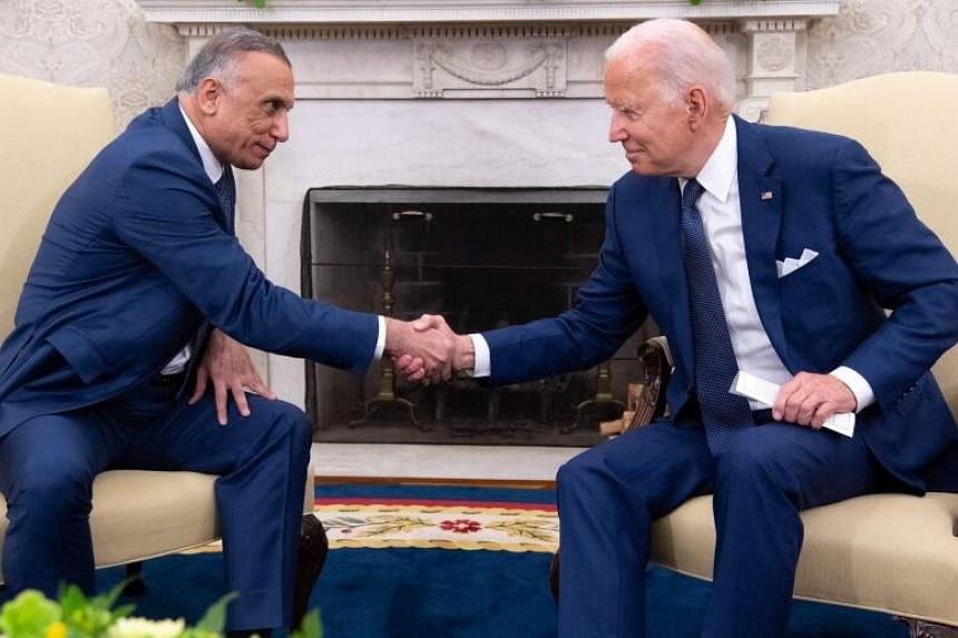 US President Joe Biden (right) and Iraqi Prime Minister Mustafa al-Kadhimi met for their first face-to-face talks on July 26, 2021.