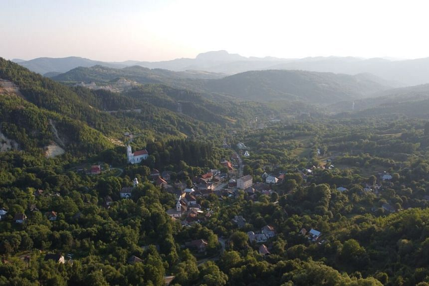 The village of Rosia Montana in western Romania.