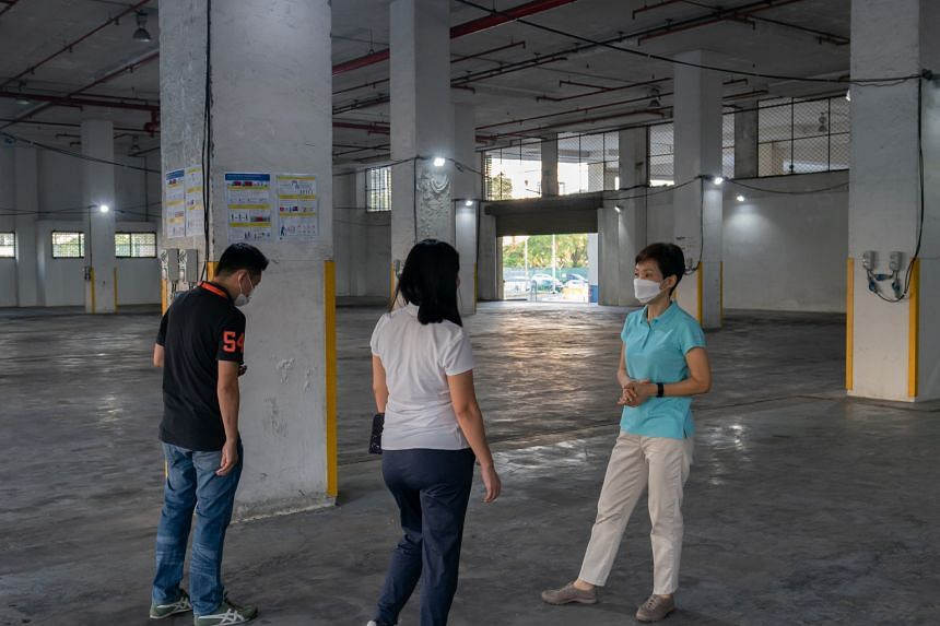 Minister for Sustainability and the Environment Grace Fu (right) during a visit to the former Pasir Panjang Distripark on July 27, 2021.