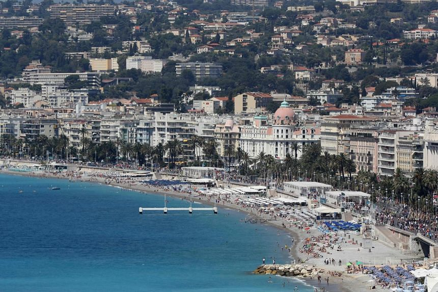 A view of the beach and the Promenade des Anglais in the French riviera city of Nice.