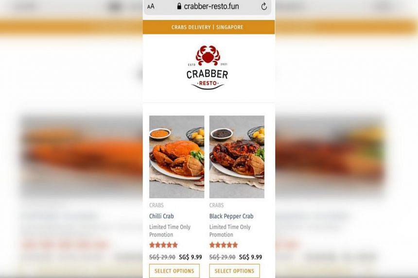 Upon clicking on the advert, victims were directed to a webpage with a selection of crabs that were purportedly discounted from $29.99 to $9.99.