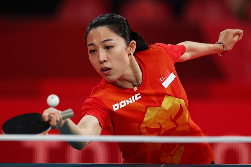 Singapore's Yu Mengyu in action during the women's singles last 16 table tennis event, on July 27, 2021.