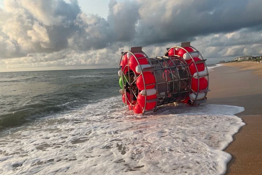 Reza Baluchi made it only 40km in his pod on what was supposed to be a 1,600km-plus journey, before washing ashore.
