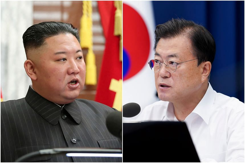 The agreement was spurred by an exchange of letters between North Korean leader Kim Jong Un (left) and South Korean President Moon Jae-in.