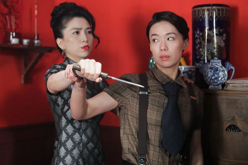 Actresses Sora Ma (left) and Rebecca Lim in a scene from Mediacorp's upcoming drama, This Land Is Mine.
