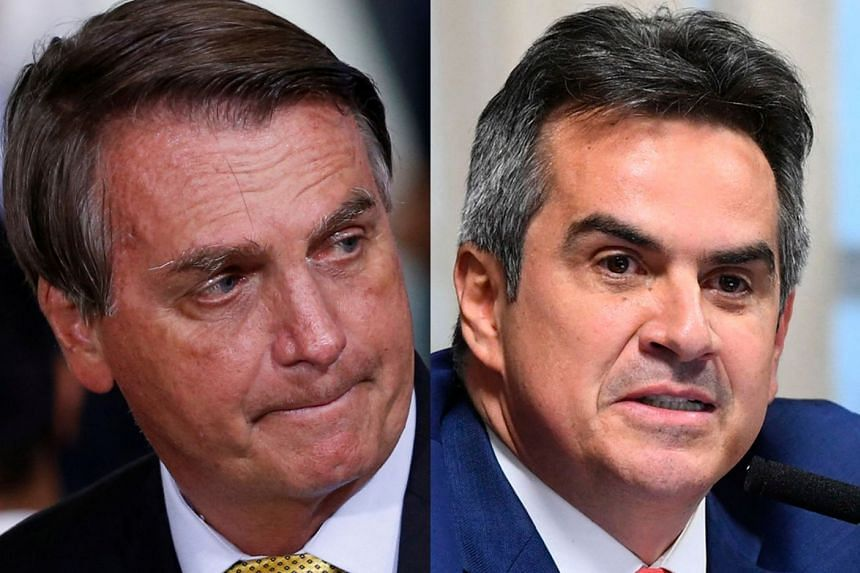 Nogueira (right) belongs to the same PP party as House Speaker Arthur Lira, who has refused to take up any of the dozens of impeachment requests filed against Bolsonaro (left).