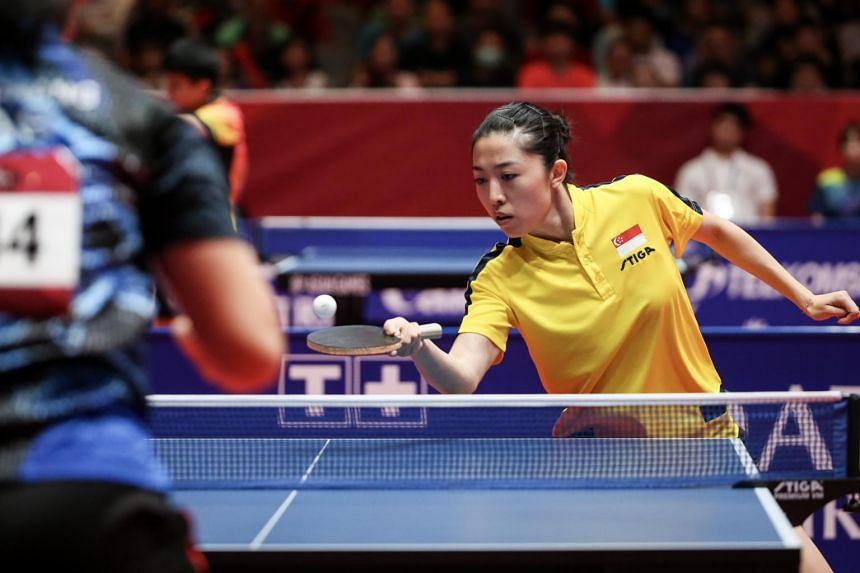 Yu Mengyu competing against Alice Chan Li Sian at JIEXPO Kemayoran in Jakarta, on Aug 30, 2018.