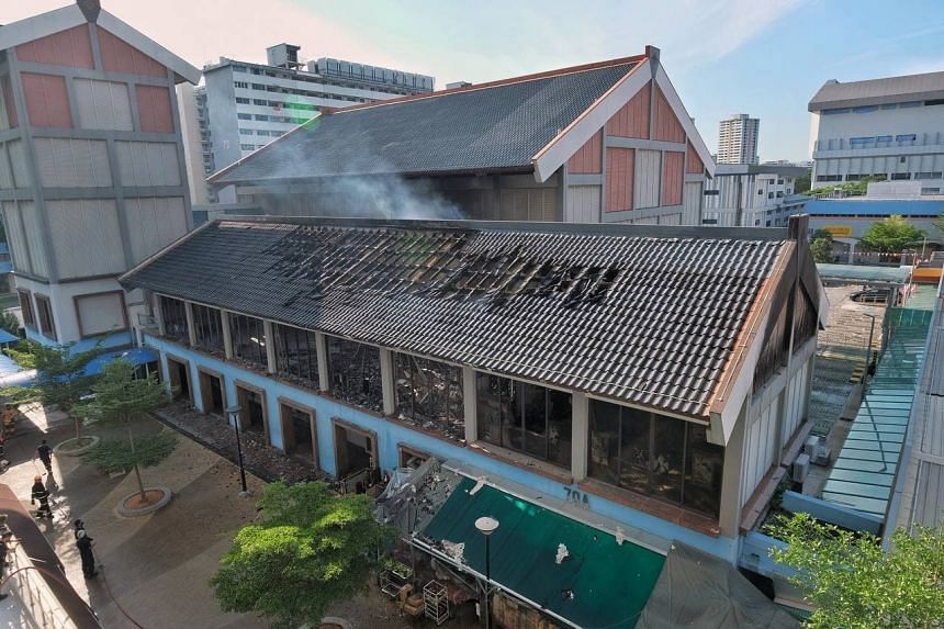 The fire involved the contents of a dance studio, and was extinguished by SCDF in about one hour.