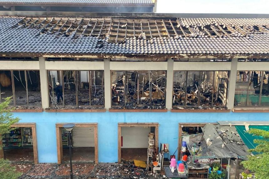 The fire involved the contents of the second floor of a two-storey building.