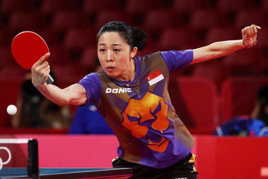 Yu Mengyu in action against Japan's Kasumi Ishikawa at the Tokyo Metropolitan Gymnasium on July 28, 2021.