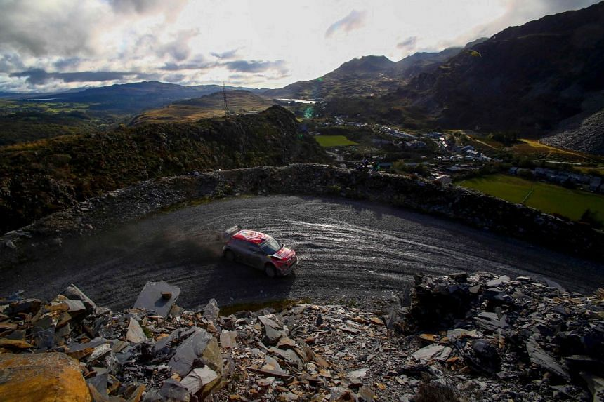 A 2019 photo shows the FIA World Rally Championship being held in the slate landscape of Penmachno, north Wales.