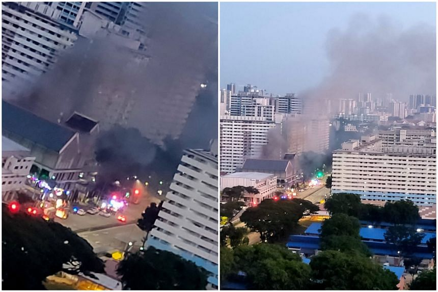 Smoke was seen billowing out of the fire at a dance studio on the second floor of 70A Geylang Bahru just before 7.00am on July 28, 2021.