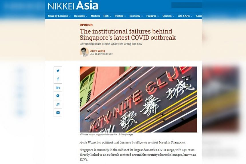 A screenshot of a recent opinion piece published by Nikkei Asia on the Government's handling of the Covid-19 cluster.