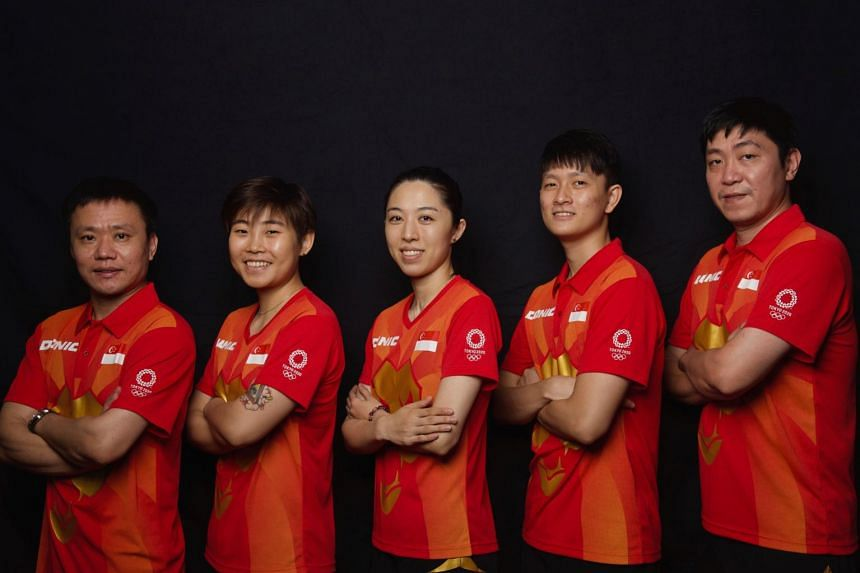 Singapore's table tennis team at the Tokyo Olympics include (from left) women's coach Hao Anlin, Lin Ye, Yu Mengyu, Clarence Chew and men's coach Gao Ning.