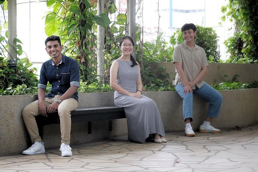 Public Service Commission scholarship recipients (from left) R.K. Suriya Varshan, who will be pursuing an engineering degree at the Singapore University of Technology and Design; Liu Jiahui, who will be studying accountancy and business at Nanyang Te