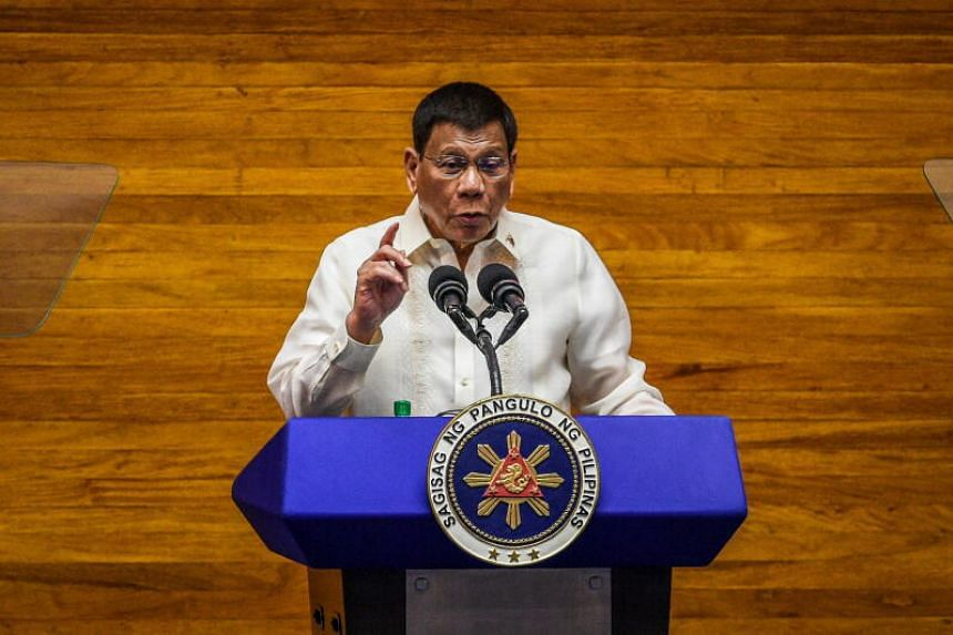 Philippine President Rodrigo Duterte gestures as he delivers his State of the Nation Address (SONA) in Quezon City, Metro Manila, Philippines, on July 26, 2021.