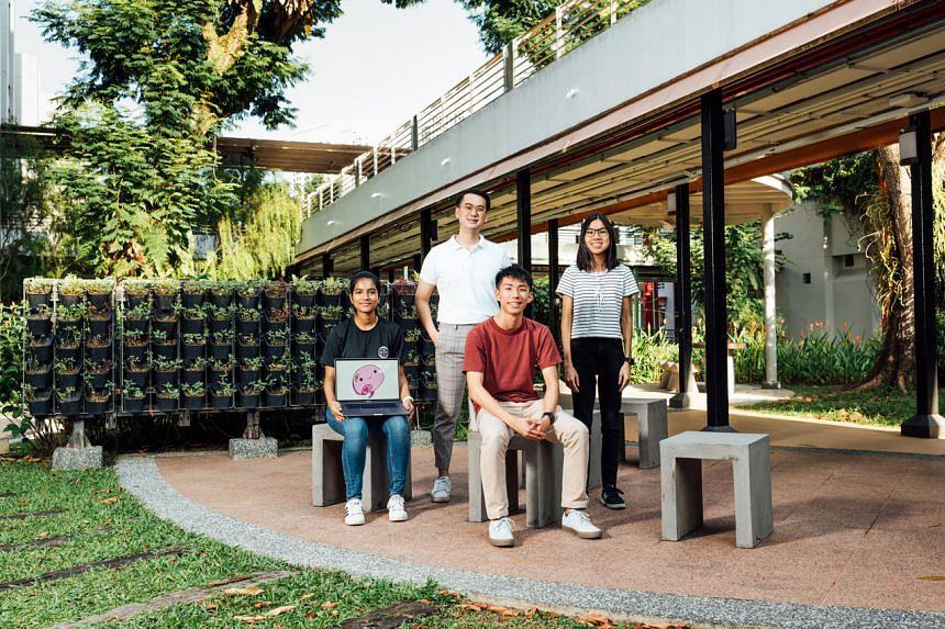 (From left) Ms Bhawana Sapkota, 18, Mr Low Jia En, 23, Mr Timothy Liau, 21, and Ms Rachel Lee, 21.