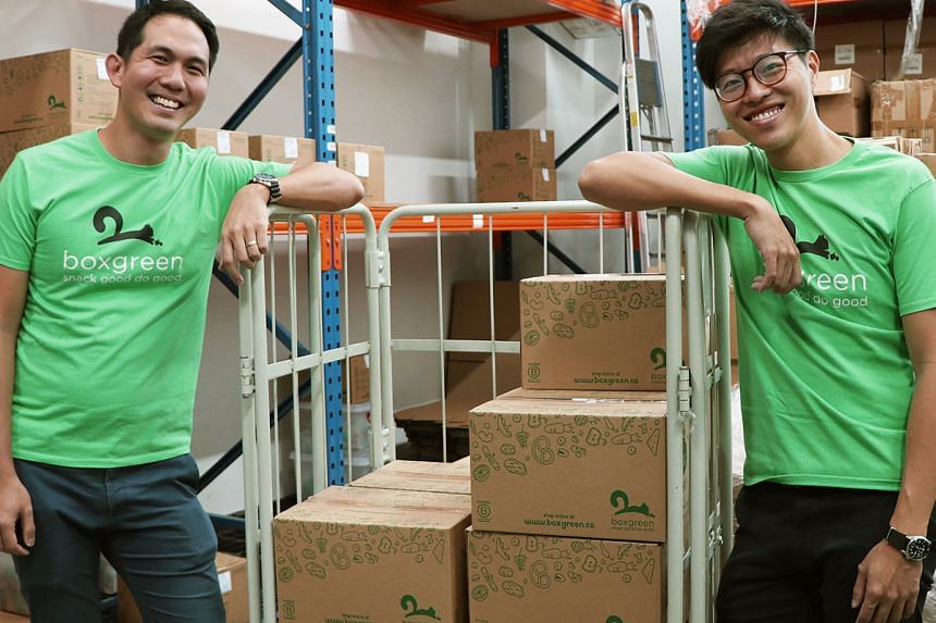 The founders of Boxgreen, Mr Andrew Lim (left) and Mr Walter Oh, are on a mission to help people develop a habit of healthy snacking. PHOTO: BOXGREEN