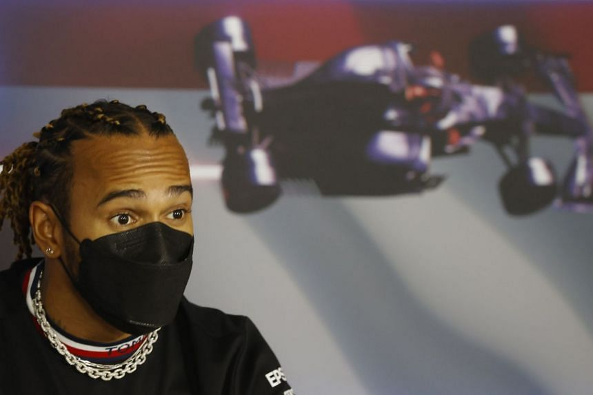 Mercedes' Lewis Hamilton attends a press conference ahead of the Hungarian grand prix on July 29, 2021.