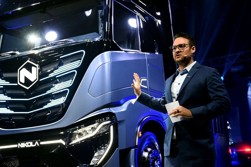 """Milton (above, in 2019) allegedly said Nikola had built a """"full-functioning"""" semi-truck prototype when he """"knew that the prototype was inoperable""""."""