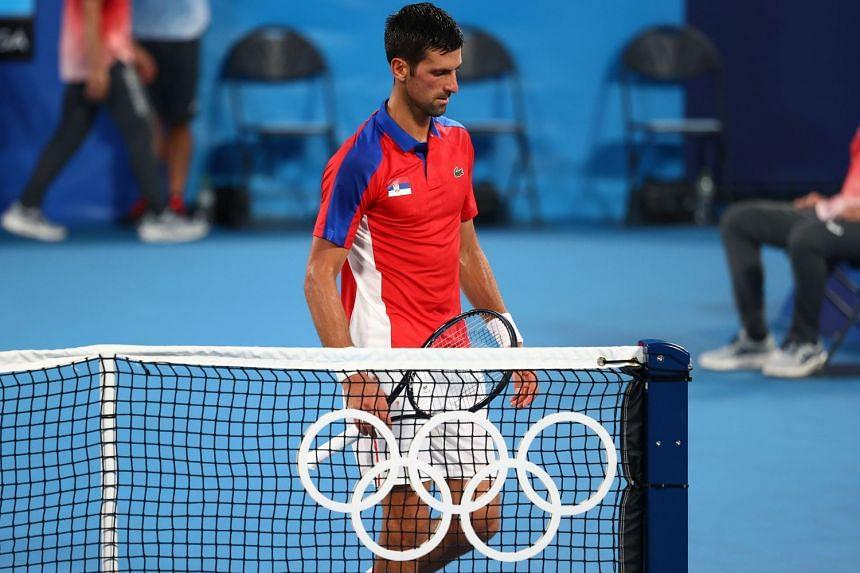 Novak Djokovic during his Olympics semi-final defeat by Alexander Zverev of Germany at Ariake Tennis Park in Tokyo on July 30, 2021.