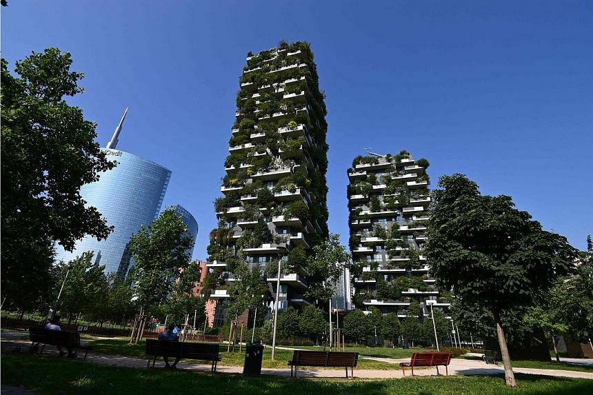 An architectural complex, called the vertical forest (Bosco Verticale), designed by Studio Boeri in Milan, Italy. Green spaces have been shown to improve health and well-being, said Dr Stephanie Merchant from Bath University Visitors at the Brooklyn