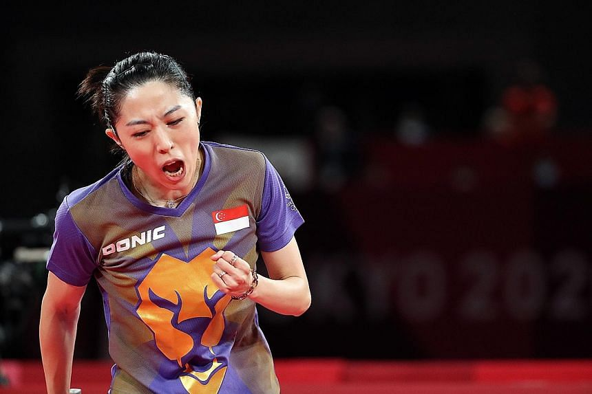 Yu Mengyu celebrating a point against Mima Ito in their bronze play-off last night. While beaten 4-1, she put up a creditable showing.