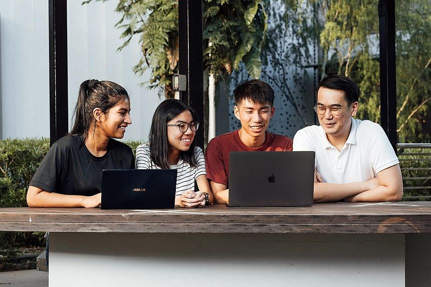 Mr Timothy Liau (second from right) wanted to bring together young minds to work towards a better mental health support system, and the result is a 24-hour virtual hackathon over Zoom that will be run by him and his teammates, (from left) Ms Bhawana