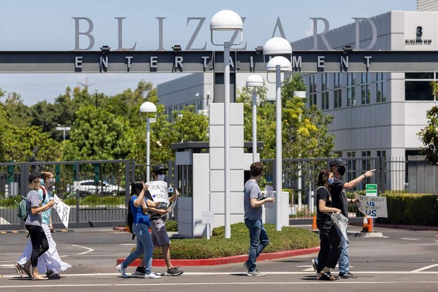 Activision Blizzard employees hold a walkout and protest rally in Los Angeles on July 28, 2021.