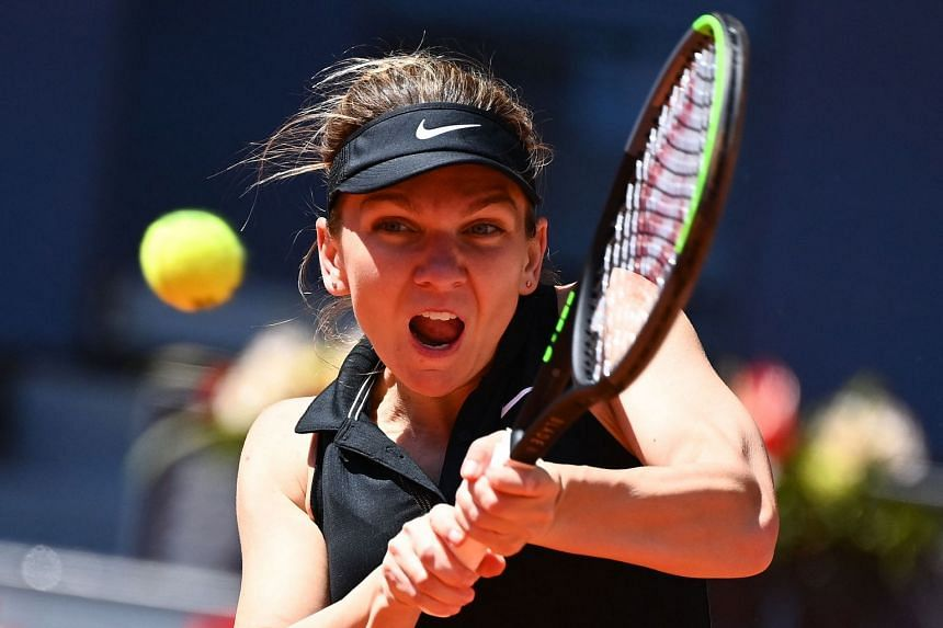 Romania's Simona Halep in action during the Madrid Open in May 2021.