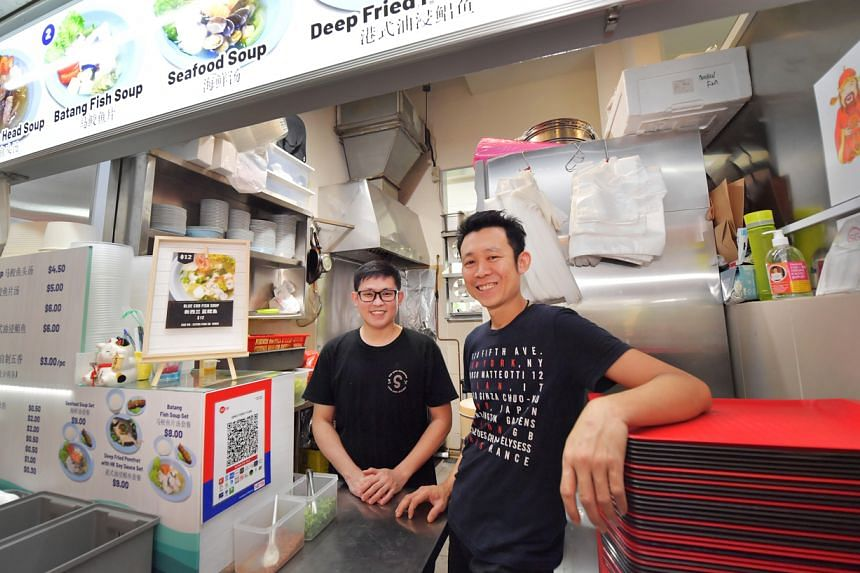 Mr Kek Wan Fong (right) and Mr Gui Jin Keng at their stall, Qing Feng Yuan, in the Tiong Bahru Market food centre.