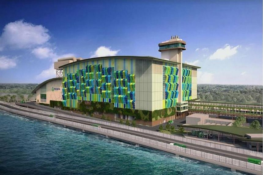 An artist's impression of Tuas Nexus Integrated Waste Management Facility. The first phase is the development of a 400-tonnes-a-day food waste treatment facility and an 800-tonnes-a-day sludge incineration facility.