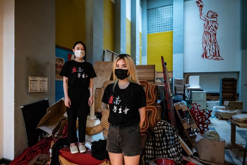 Kitty Law (left) and Yanny Chan, student union members at Lingnan University in Hong Kong, on July 20, 2021.