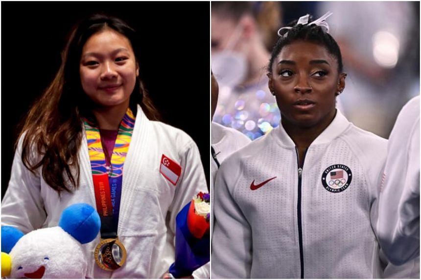 Constance Lien (left) and Simone Biles are among a growing number of athletes who have spoken openly about their battles with mental health issues.