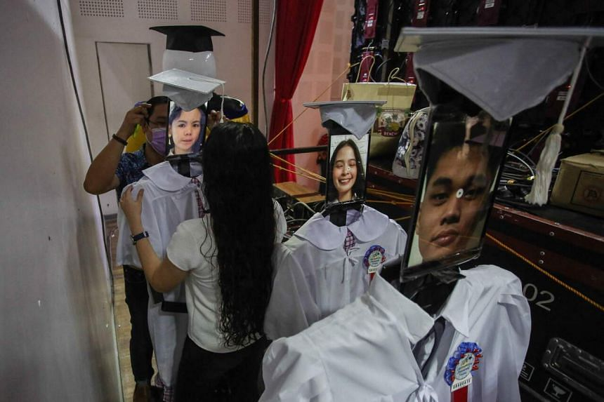 """A """"cyber graduation"""" ceremony at a science high school in Taguig City in Manila on July 16, 2021."""