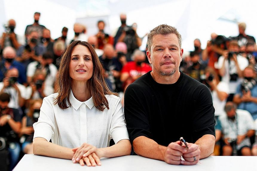 Ms Amanda Knox (above), who was convicted of murder in Italy before being acquitted, says the movie Stillwater, which stars Camille Cottin and Matt Damon (both at left), reinforces an image of her as guilty and untrustworthy.